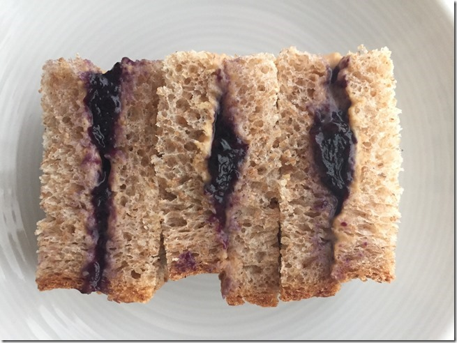 PB2 and blueberry jam sandwich