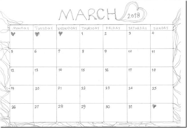 2018 march calendar